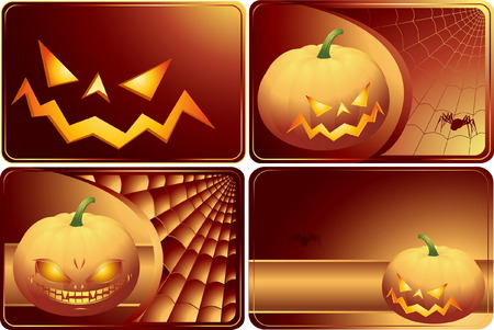 Set of Halloween cards with smiling pampkins and spiders Vector