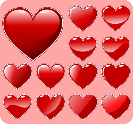 Set of 13 red beautiful hearts - elements for design Vector