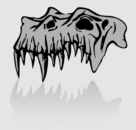 Skull of demon - traced image isolated on white Vector