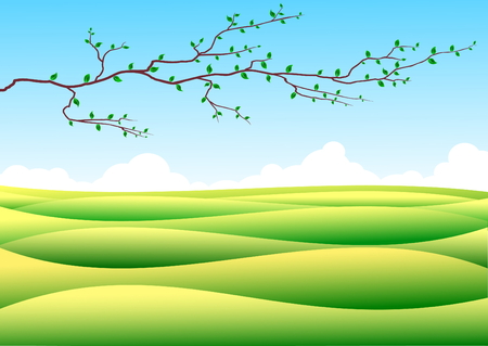 Summer landscape with green hills, blue sky and single branch Vector