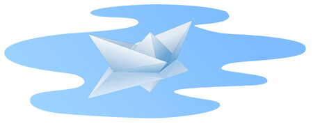 White paper ship with reflaction in blue water