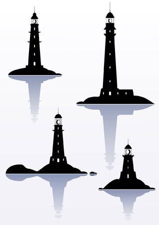 Lighthouse - four illustrations isolated on white Vector