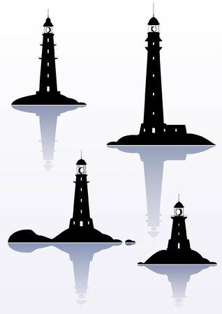 Lighthouse - cztery pojedyncze ilustracje na białym Ilustracje wektorowe