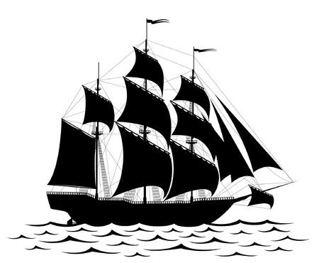 navire: Black vieux bateau et les vagues isol� sur blanc Illustration