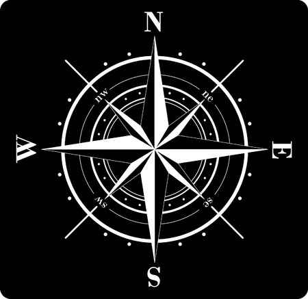 위도: White compass rose  isolated on black