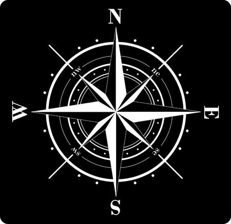 kompassrose: White Windrose isoliert auf schwarz