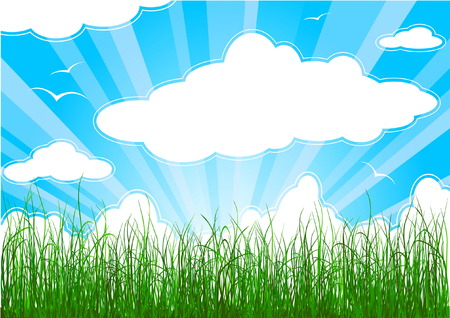 Sunny summer background with grass, clouds and sunbeams Stock Vector - 4528384