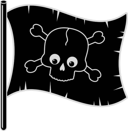 Black Pirate flag Stock Vector - 4551235