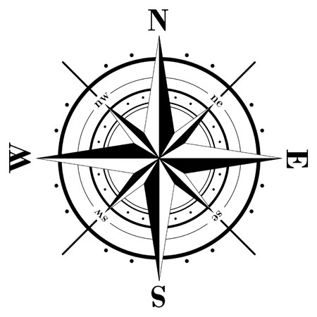 nautical compass: Black compass rose  isolated on whte
