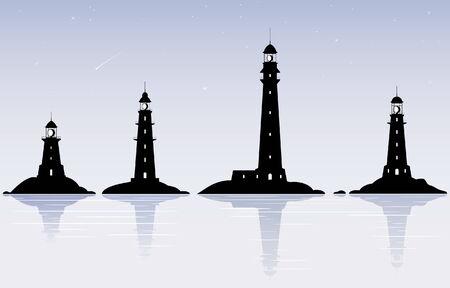 lighthouse at night: Cuatro faros de negro sobre el cielo de la noche con las estrellas