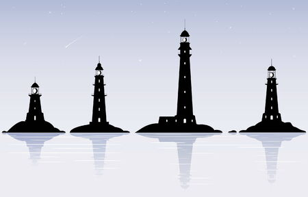 Four black lighthouses over evening sky with stars Illustration