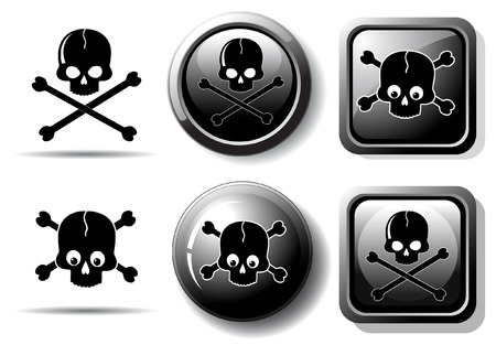 Black buttons with skull sign isolated on white Vector