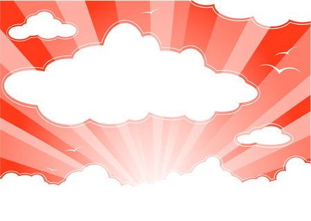 Red sunny sky with clouds and sunbeams Stock Vector - 4701684