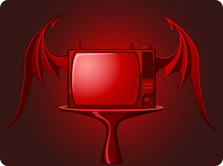 Red evil TV with bats wings isolated on dark background Vector