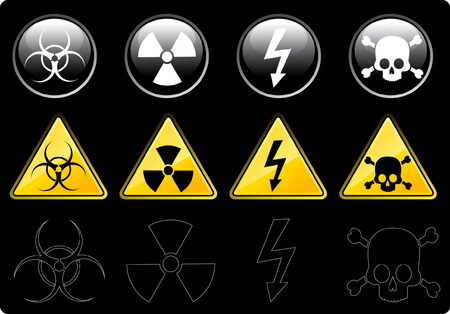 Set of icons of main warning symbols Stock Vector - 4785309