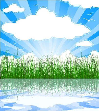 Sunny summer background with grass, water, clouds and sunbeams Vector
