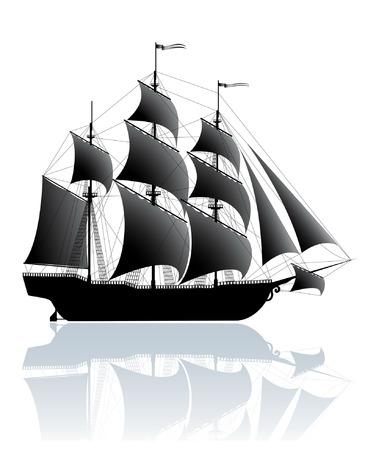 Black old ship isolated on white Illustration