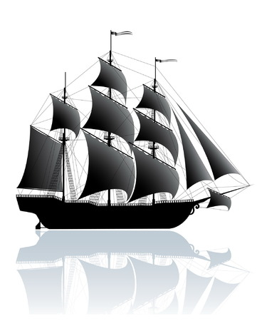 sailing vessel: Black old ship isolated on white Illustration
