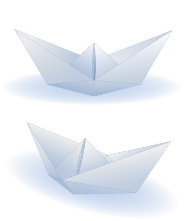 Two realistic paper ships isolated on white Vector