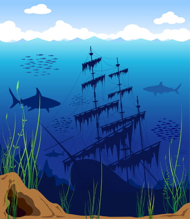 Beautiful and dangerous underwater world Illustration