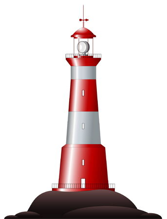 Beautiful detailed lighthouse isolated on white Stock Vector - 5002161