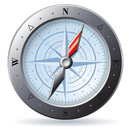 Steel detailed compass isolated on white Vector