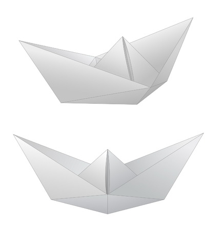 tripping: Two paper ships isolated on white
