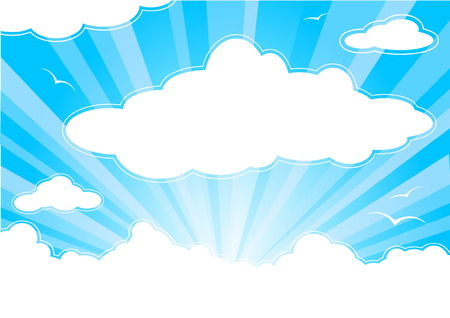 Blue sunny sky with clouds and sunbeams Illustration