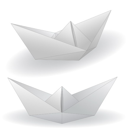 Two paper ships isolated on white Vector