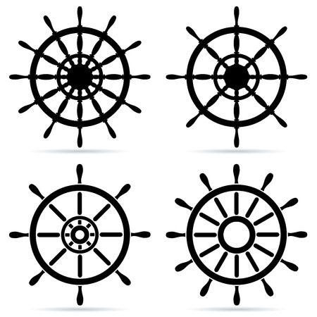 Set of steering wheels - isolated on white Stock Vector - 5236267