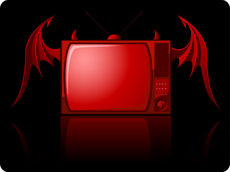 Red evil retro TV with wings isolated on black Vector