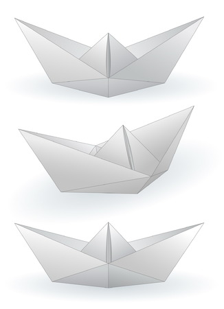 Three paper ships isolated on white Vector