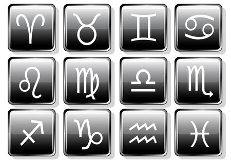 Set of glossy black zodiac icons isolated on white Vector