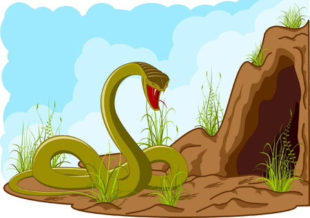 eyes cave: landscape with angry snake near cave with tracks of smb.