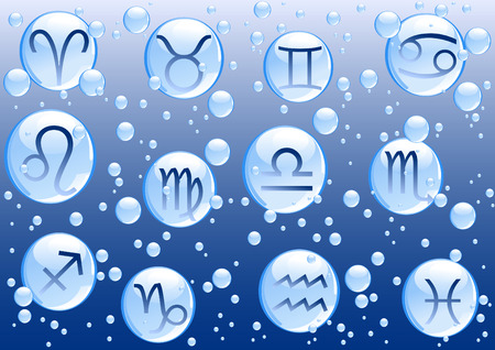 Blue bubbles with zodiac signs on blue background  Vector