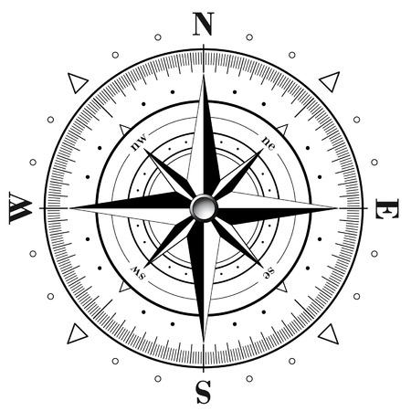 위도: Black compass rose isolated on white