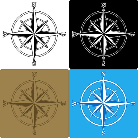 windrose: Set of isolated compass roses Illustration
