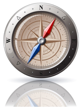 Steel detailed compass isolated on white Stock Vector - 5277779