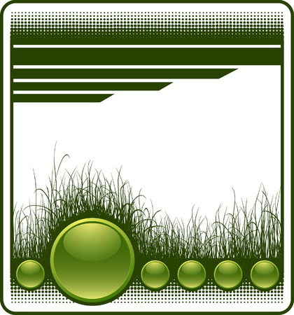 Web background with grass and glossy buttons  Vector