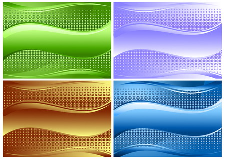 Set of four beautiful backgrounds with wave and copy spase Vector