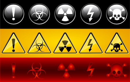 Set of icons of main warning symbols Stock Vector - 5340080