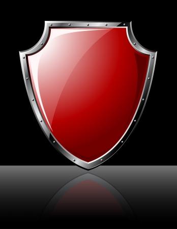 Steel shiny shield - isolated on black 矢量图像