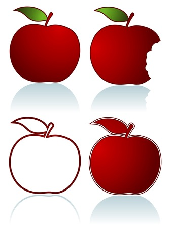 Set of different red apples isolated on white Stock Vector - 5500550