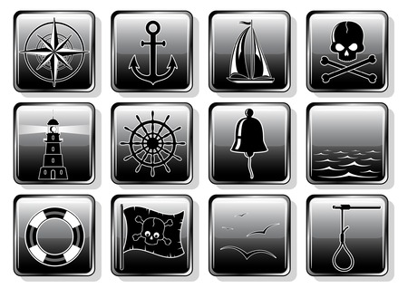 Set of glossy buttons witn nautical symbols Stock Vector - 5500552