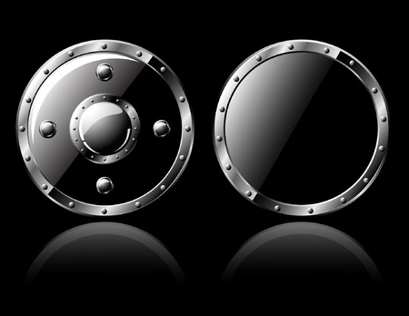 Two round steel shiny shields - isolated on black 矢量图像