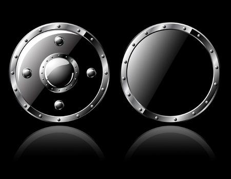 Two round steel shiny shields - isolated on black Illustration