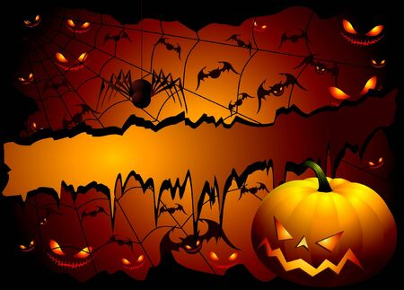 Halloween background with pumpkin and spider Vector