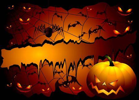 Fondo de Halloween con calabaza y araña