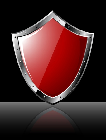 Steel red shiny shield - isolated on black Vector