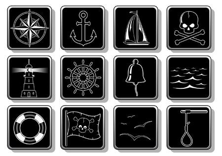 beacons: Set of nautical symbols